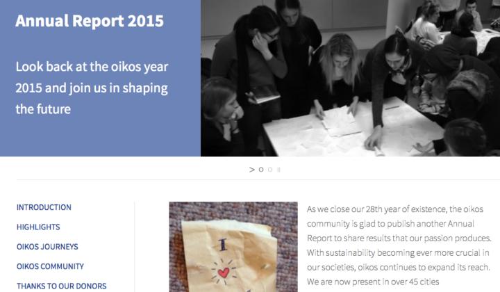 oikos Annual Report 2015