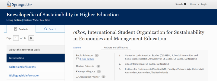 oikos is featured in the Encyclopedia of Sustainability in Higher Education